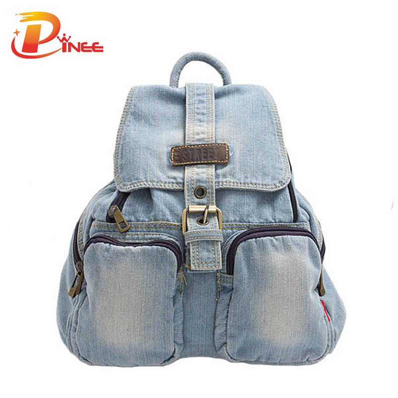 Navy blue female school backpack casual denim style women travel shoulder bag for teenager wholesale<br>