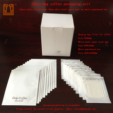 10 sets coffee hanging ear paper filter bag paper box set good imported material used for drip coffee packaging