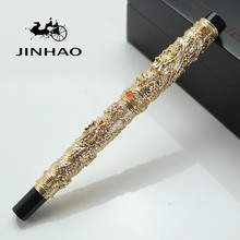 JINHAO Gold Two Dragon Play Pearl 0.7mm Nib Dragon Carved Stationery School&Office Rollerball Pen with original box for choice(China)