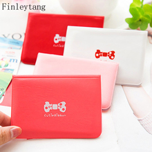 Finleytang Hot 24 Bits PVC Fashion Credit Card Holder Litchi Profile Buckle ID Holders Package Organizer for Women Female Cards