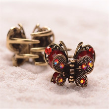 Vintage Hair Clip Mini Butterfly Rhinestone Resin Hair Claw Antique Metal Hair Clip For Women Hair Jewelry New Listing Crab Claw(China)