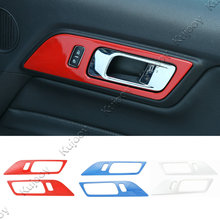 2Pcs Red /Blue/ Chrome Silver ABS Car Interior Door Handle Bowl Frame Cover Trim Sticker For Ford Mustang 2015 2016 2017