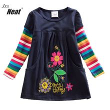 Retail 2017 new girls dress vestidos infantil children clothing kids clothes girls long sleeve floral girl dress H5802(China)