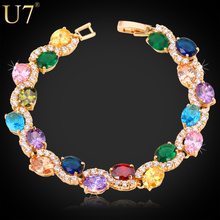 U7 Luxury Crystal Tennis Bracelet Charm Jewelry Gold Color AAA Cubic Zirconia Bracelets & Bangles For Women Birthday Gift H500