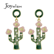Joywish Cute Lovely Gold-Color Circle Green Cactus Pink Flower With Simulated-pearl Drop Earrings For Women Accessories Jewelery