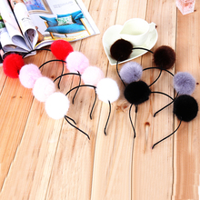 Women Girls Fur Ball Furry Headbands Hair Accessories Christmas Hair Band Sweet Princess Hair Bands Girls Headband(China)