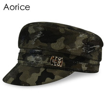 HL056 women&men hats real leather baseball cap 2017 brand new girls boys camouflage color beret belt hunting hats(China)