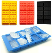 10 Holes Lego Brick Blocks Shaped Rectangular DIY Chocolate Mold Silicone Ice Cube Tray Cake Tools Fondant Shapes A329