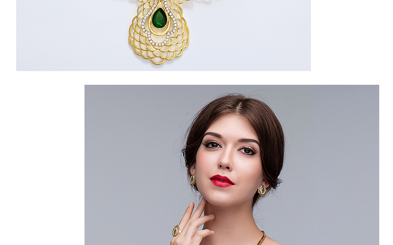 AYAYOO Bridal Jewelry Sets Crystal African Beads Jewelry Set in Gold Color Fashion Jewellery Women Wedding Necklace Set (2)