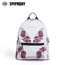 Epiphqny Brand Women Purple Backpack Butterfly Printing Pocket Bagpack Teenager Girl White Backpacks Casual Fashion Logo 51133