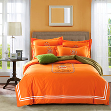 Papa&Mima cotton Bedding Set king queen size Embroidery Orange Bedlinens Duvet Cover set pillow sham Bedsheet