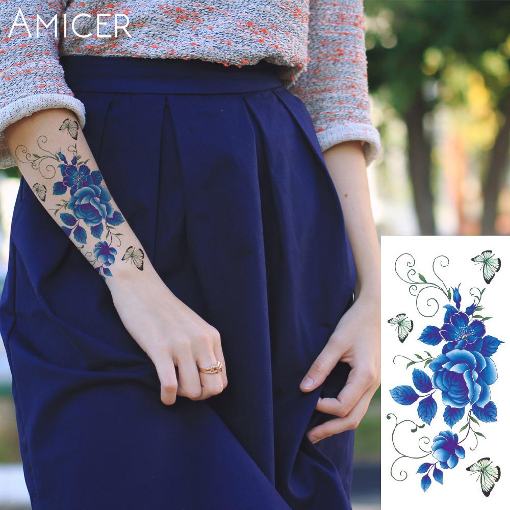 3D lifelike Cherry blossoms rose big flowers Waterproof Temporary tattoos women flash tattoo arm shoulder tattoo stickers 6