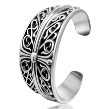 Vintage Cross trendy floral designs Punk 316L Stainless Steel Bangle for man women fashion Fast shipping STB1-024(China)