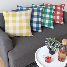 European Pastoral Lattice Red, Green and Yellow Pillow Cushion Thick Pounds Cover Cotton LinenSofa Car Decoration Pillow Cushion