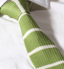 "TSK005G Green White Stripe 2.4"" Knit Knitted Slim Flat Fancy Tuxedo Narrow Men's Neck tie Necktie Party Wedding(China)"