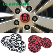 4pcs/lot 56mm Hydra Skull aluminum Sticker Car Steering tire Wheel Center car sticker Hub Cap Emblem Badge Decals Red/Silver(China)