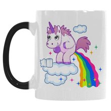 unicorn mugs rainbow mug novelty  Tea  heat sensitive mugen heat transforming heat changing color magic mug