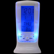 Modern Unique Phone Digital LCD Alarm Clock Calendar Thermometer Date Time Watch Service Night Light Alarm Clock T0697 0.19