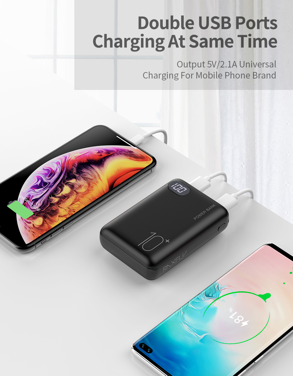 RAXFLY Mini Power Bank 10000mAh Dual USB Portable Charger Powerbank For Xiaomi Mi 9T Pro LED Display External Battery Poverbank 2