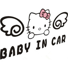 Hello Kitty car styling anime wall decals Baby On Board warning vinyl stickers for auto tail window glass decoration accessories