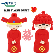 New pen drive 64gb usb flash drive 32gb Chinese wedding U disk 16gb 8gb 4gb cute red usb 2.0 sweet couple husband wife usb stick