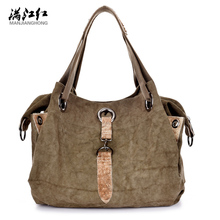Manjianghong fashion canvas with leather vintage classic women shoulder bag casual tote vogue European style shopping handbag