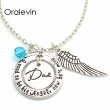 I used to be his angel now he is mine  Gifts for daddy Inspirational Necklace with Wing Hand make Jewelry 20Pcs/Lot #LN1324