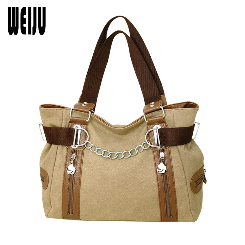 WEIJU New Women Handbags Canvas Ladys Shoulder Bag bolsa feminina Casual Woman Hand Bags 2017 Ladies Bags<br>