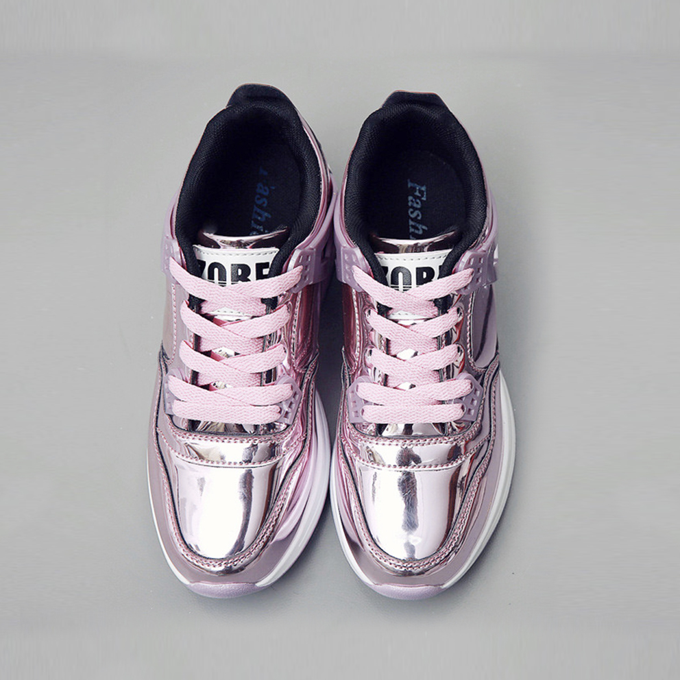 Spring 2017 Fashion New Shining Boblo Thick Soled Leather Shoes Mirror Purple Silver Shoes Muffin Bottom Shoes Tide<br>