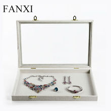 FANXI free shipping custom wooden jewellery display trays with transparent lid and metal hinge empty portable linen jewelry case