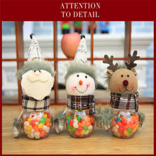Christmas Snowman Plastic Candy Container Decorative Candy Jars Holiday Decor Creative Xmas Santa Claus Elk Ornaments Baby Gifts(China)