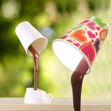 1pcs Coffee Cup LED Light Home Creative DIY Desk Table Lamp with USB Battery Poured Night Light