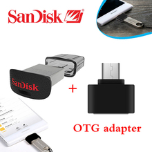 100% Original Genuine Sandisk CZ43 usb 3.0 flash drive 16gb 32gb 64gb mini Pen Drives + OTG adapter for Android Smartphone(China)