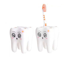 1pc Teeth Shape Toothpaste Holder, tooth brush holder, Cartoon Toothpaster Contaniner, Bath Accessories, porte brosse a dent