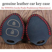 discount price fit for T-OYOTA C-arola P-rado P-rado(2013) H-aice(2011) Hand sewing car key case cover Genuine quality leather(China)