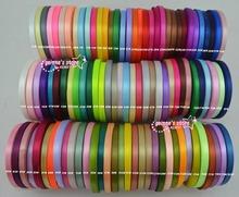 new arrive-1/4''(6mm) single face satin ribbon polyester ribbon  10roll(25yaard/roll) mix 10 colors 120 colors can option
