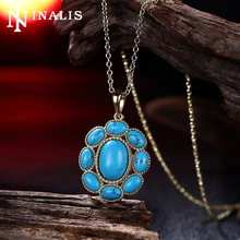 2017 New Fashion Oval Natural Turquoises Stone Flower Pendant Gold Color Chain Necklace Women Bohemian Vintage Necklace Jewelry