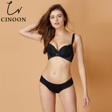 Buy CINOON Sexy Lingerie Deep V Underwear Push Bra Sets Floral Lace Women Intimates Comfortable Brassier Bow Bra Hot Sale