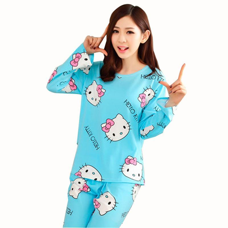 GOPLUS Women Cotton Pajamas Hello Kitty Sleepwear Sets Soft Pajamas Women Nightgown Fashion Style Pajama Sets Pyjama Femme C2005(China)