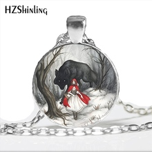 NS-00789 Fashion Little Red Riding Hood and Wolf Pendant Necklace Fairytale Art Photo Handmade Vintage Necklace Women Jewelry