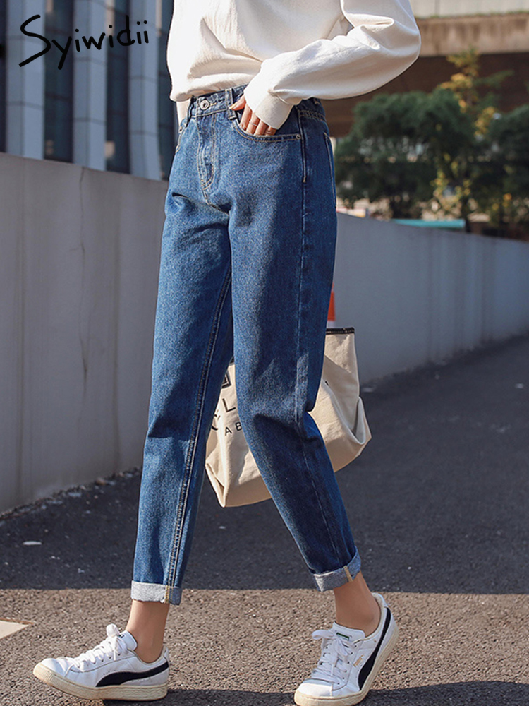 Mom Jeans Beige Black Blue High-Waist Plus-Size Cotton Woman New White Hot-Sale gown
