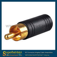Superbat RF Connector High Quality RCA Male Plug to 3.5mm Stereo Female Jack Audio Video Converter Adapter
