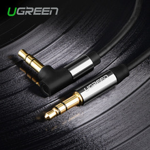 Ugreen Audio Jack 3.5mm Aux Cable Male to Male 90 Degree Right Angle Round Audio Cable for Car Headphone MP3/4