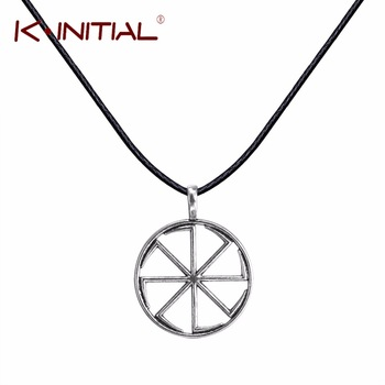Kinitial Sunwheel Silver Pendant Slavic Necklace Spinning Wheel Swastika Slavic Slavonic Pagan Necklaces Women Fashion Jewelry