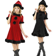 Christmas Dress Game Play Costume Female Santa Claus Cosplay Costume Exotic Cosplay Disfraces Pleuche Hot Sale CK12