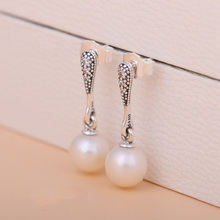 New 925 Sterling Silver Earring Elegant Beauty Pearl Hanging Studs Earring For Women Wedding Party Gift Fine fit Lady Jewelry(China)