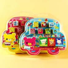 7pcs/set Kids Cartoon Stamp Boy Car Shape Box Drawing Toy Set Children Custom Plastic Rubber Self Inking Animal Stampers Toys