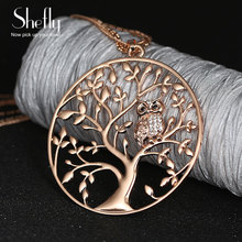 Owl Pendant Necklace Jewelry Accessory Women Fashion Silver Rose Gold Color Chain Crystal Long Necklaces & Pendants Dropshipping(China)