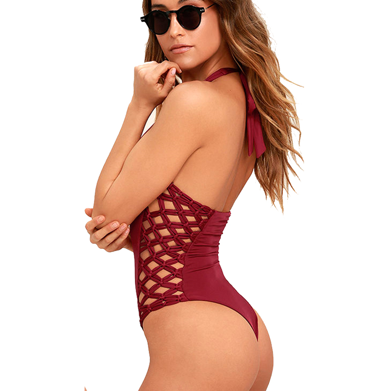 Cut Out One Piece Bathing Suit Women 17 Padded Bikini High Cut Swimwear Female Backless Halter 1 Piece Swimsuit Braid Swim Sui 3