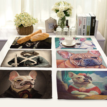 American Style Linen Cartoon Dog Printed Table Napkins Dinner Napkins Dish Towel Tea Coffee Table Decor Western Mats 42*32cm